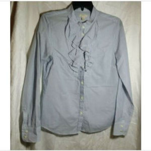 J. Crew Blue Striped Long Sleeve Button Up Blouse